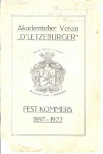 Deckblatt Festkommers 1922